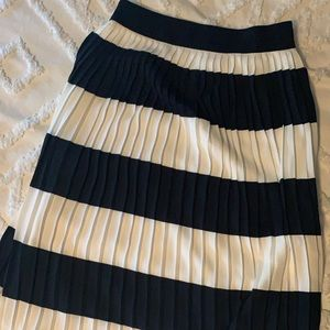 Pleated navy and cream skirt